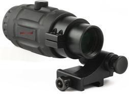 Vector Optics Rubber Armored 3x Magnifier Scope Sight + Flip