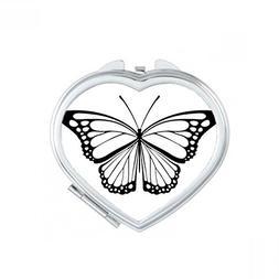 Simple Black Butterfly Specimen Heart Compact Makeup Pocket