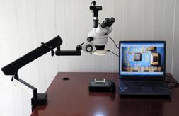 AmScope Articulating Stand Microscope 3.5x-90x LED + 8MP Cam