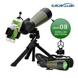 World Optical 20-60X80mm Prism Spotting Scope 100% Waterproo