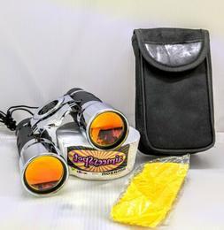 Stainless steel unbranded Binoculars W/Ruby Lenses Bag flawl
