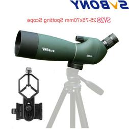 SV28 25-75x70mm Angled Zoom Spotting Scopes Waterproof+Cell