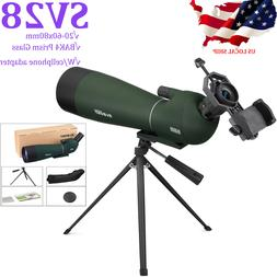 SVBONY SV28 Spotting Scope 20-60x80 BAK4 Prism Refractor Ang