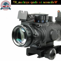 Tactical 4X32 RGB Rifle Scope with Real red Fiber Optic Sigh