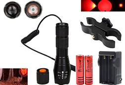 WINDFIRE Tactical Red LED Light Flashlight 300 Yards Zoom Fo