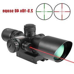 Tworld Riflescopes 2.5-10x40 Rifle Scope Gun Sight Red Laser