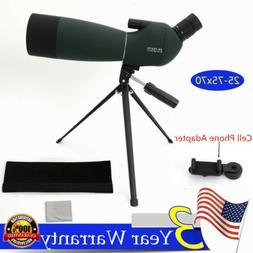 Waterproof 25-75X70 Zoom Monocular BAK4 Spotting Scope w/ Tr