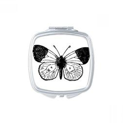 White Wings Butterfly Specimen Square Compact Makeup Pocket