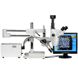 AmScope 2x-225x Trinocular Two-Arm Boom Stand Zoom Magnifica