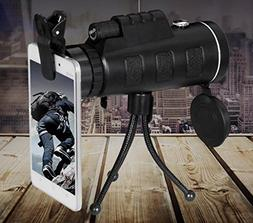 40x60 HD Zoom Optical Monocular Telescope Lens With Tripod C